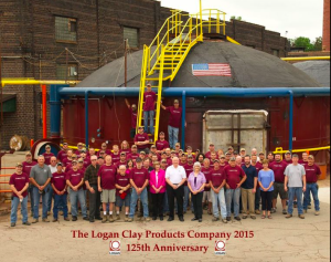 Employees Gather To Celebrate LCP Anniversary: A total of 85 employees gathered near a kiln located at the entrance of Logan Clay Products Company to celebrate the company's 125th anniversary of the local clay manufacturing company. - Bud Schrader Photography/For The Logan Daily News