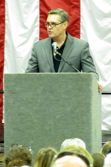 Candle-lite CEO Calvin Johnston is pictured speaking on Saturday.