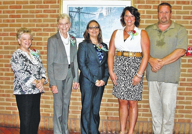 Pictured from left are 2016 Highland County Women's Hall of Fame inductees Mary Ann Sommers Larkin, Gayle Coss, Anneka Collins and Paige Juillerat. Also pictured is Dave Anders, who represented his mother, Marilyn Morris Anders. Sharon Hughes |The Times-Gazette